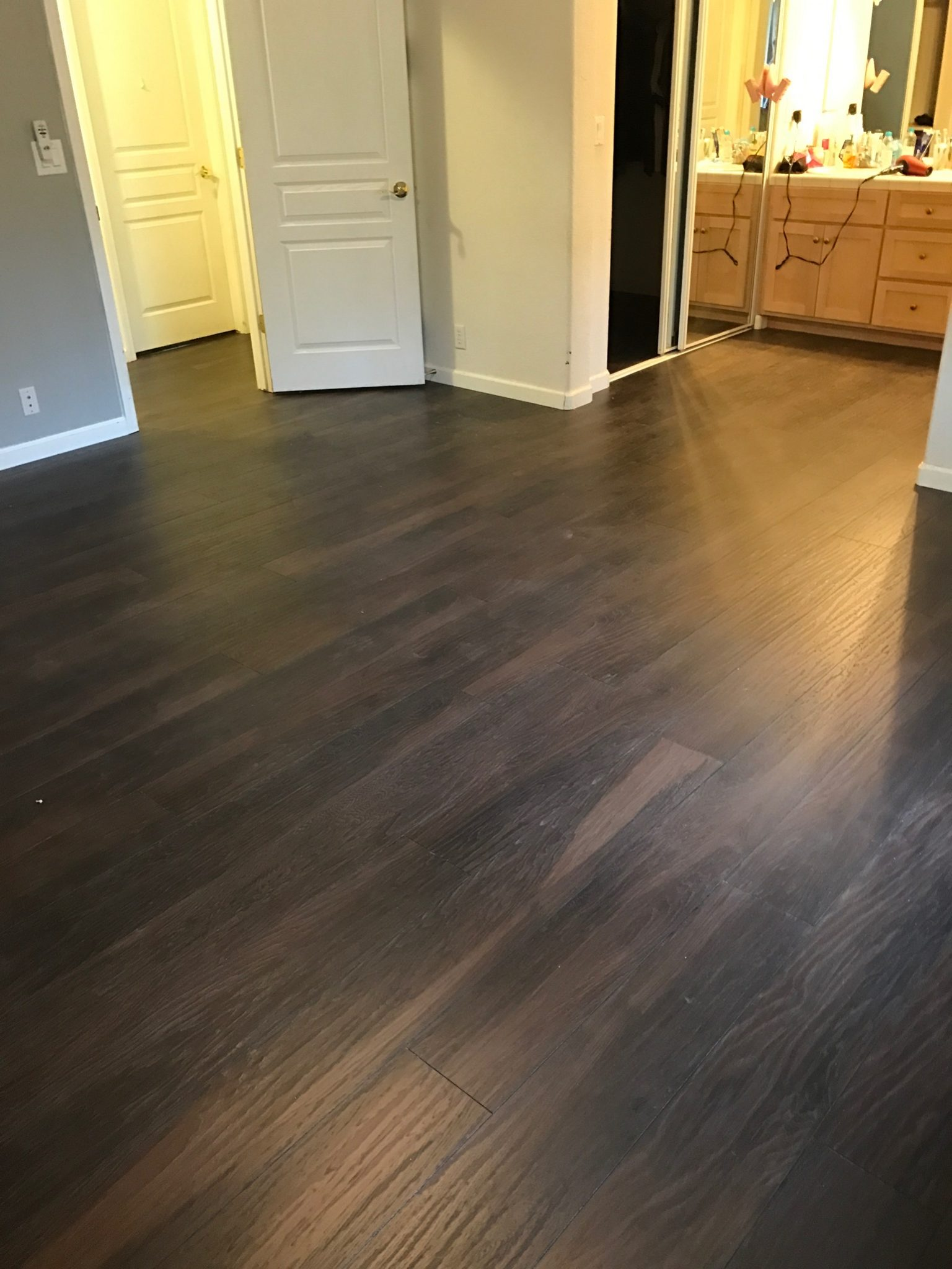 dark wood panel flooring