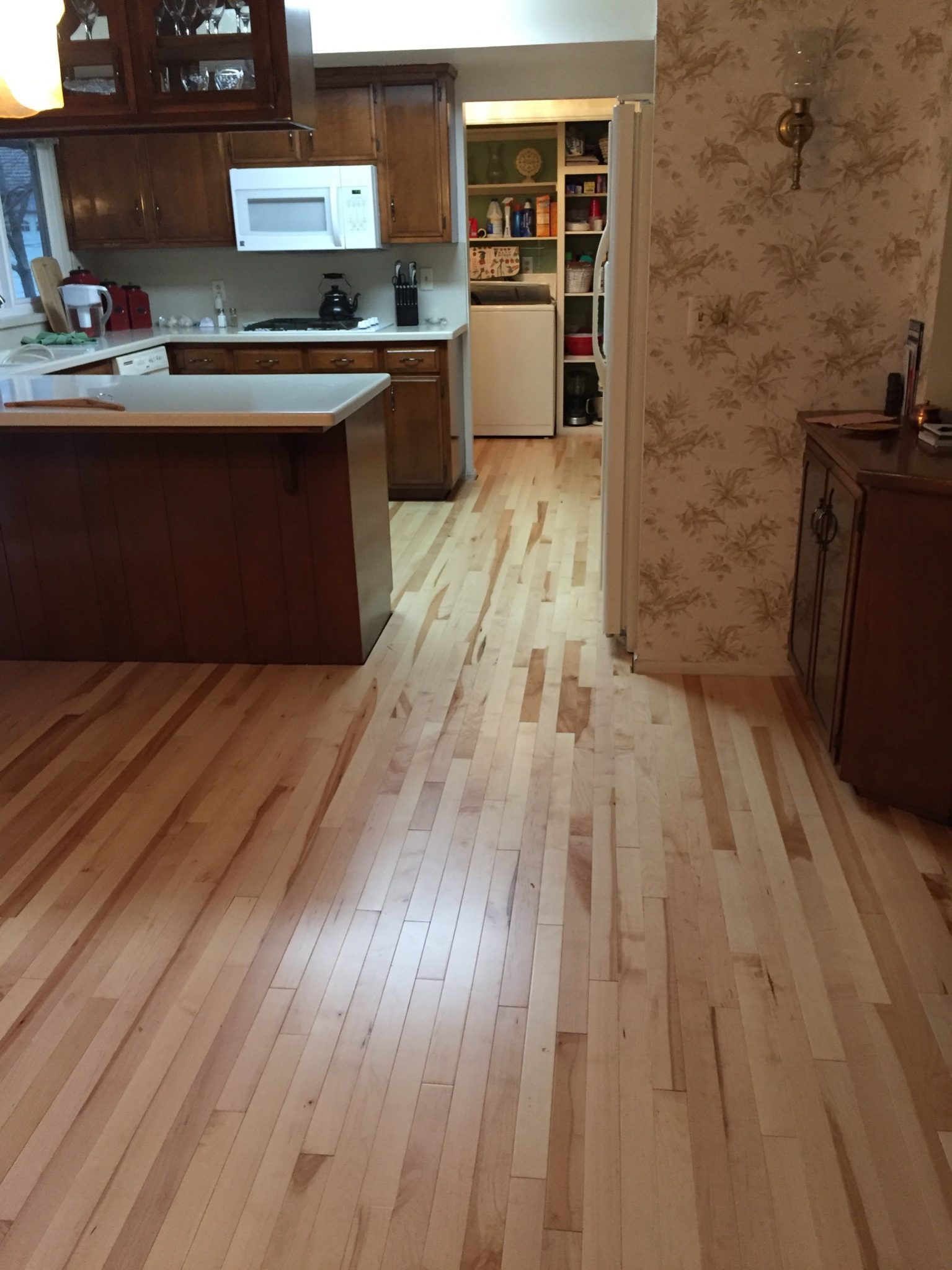 kitchen wood panel floor covering