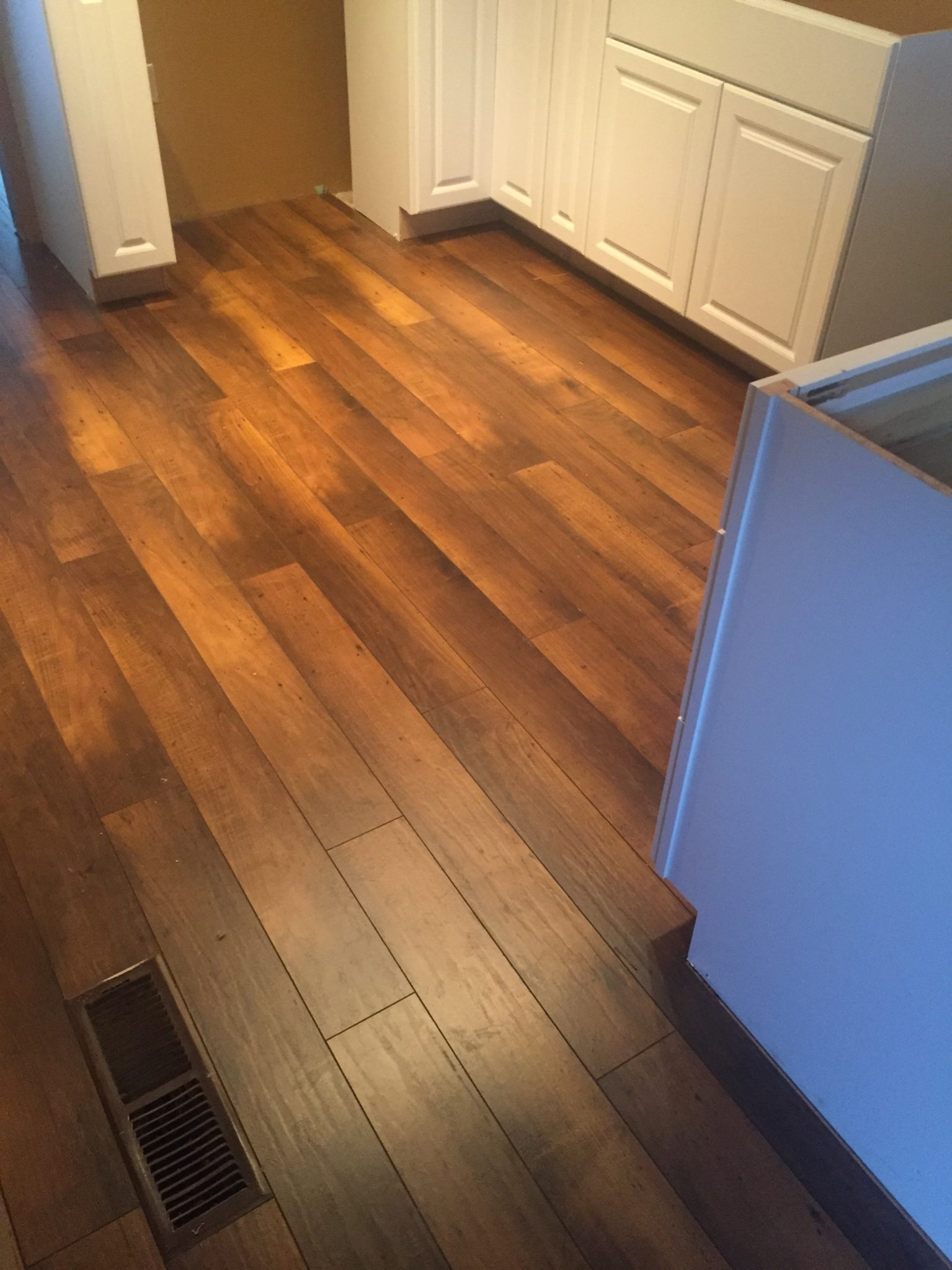 red wood panel flooring